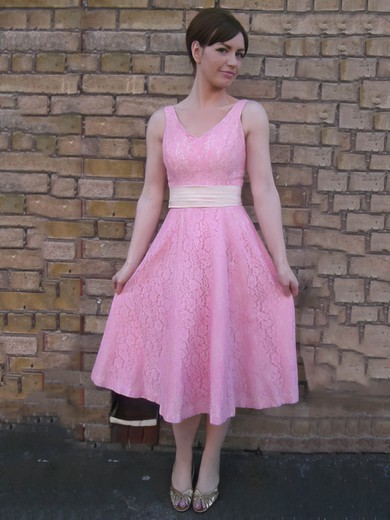 Lace A-line V-neck Tea-length Sashes / Ribbons Bridesmaid Dresses #PDS02017822