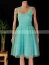 Tulle A-line Sweetheart Knee-length Ruffles Bridesmaid Dresses #PDS02017854
