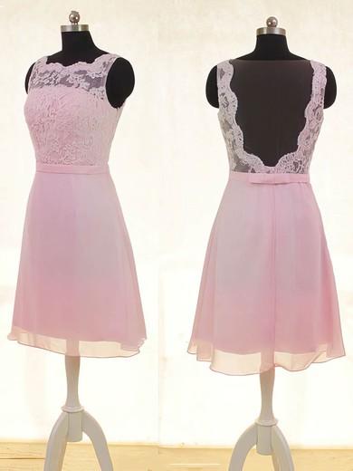 Lace Chiffon Sheath/Column Square Neckline Short/Mini Bow Bridesmaid Dresses #PDS02017878