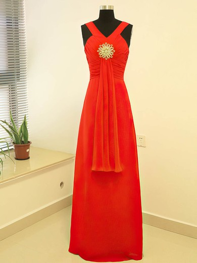 Chiffon Empire V-neck Floor-length Crystal Brooch Bridesmaid Dresses #PDS02017882