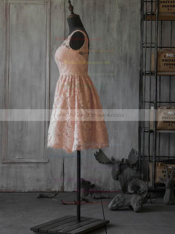 Lace A-line One Shoulder Short/Mini Ruffles Bridesmaid Dresses #PDS02017887