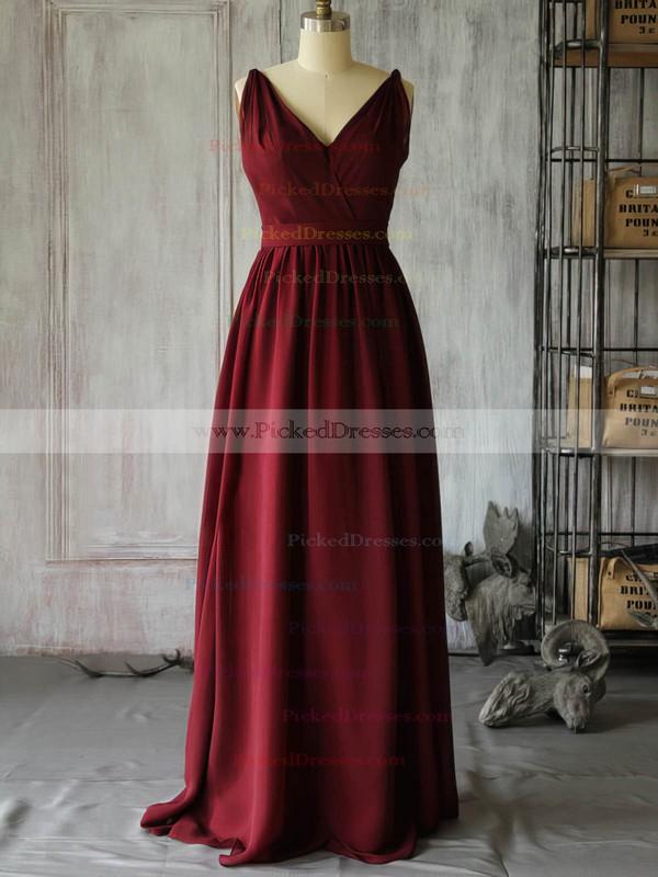 Chiffon A-line V-neck Floor-length Ruffles Bridesmaid Dresses #PDS02017889