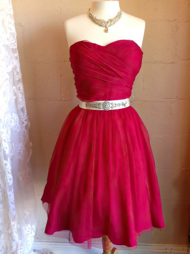 Chiffon A-line Sweetheart Short/Mini Beading Bridesmaid Dresses #PDS02017909