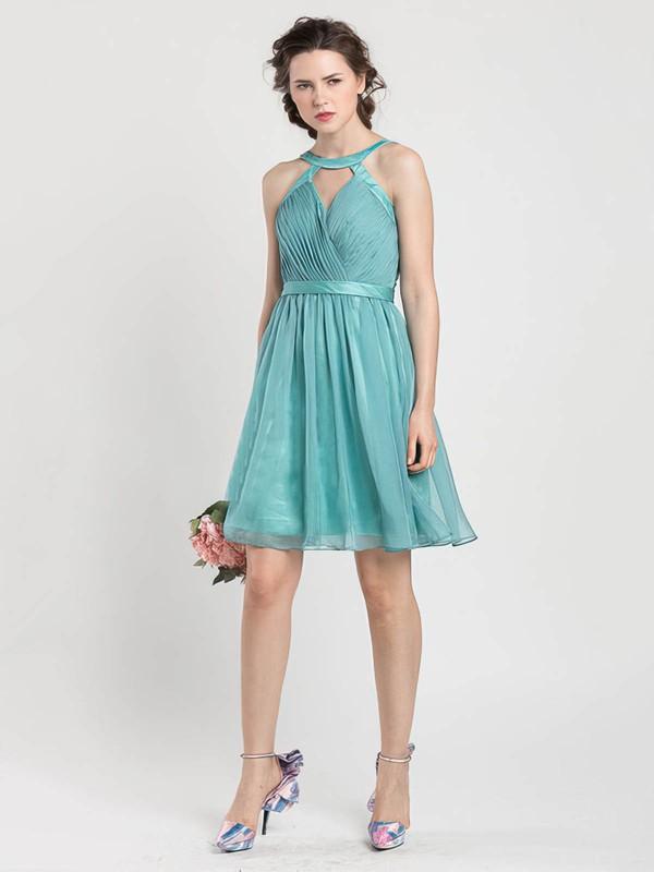 Chiffon A-line Scoop Neck Short/Mini Sashes / Ribbons Bridesmaid Dresses #PDS02017919