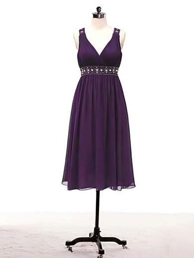 Chiffon A-line V-neck Knee-length Beading Bridesmaid Dresses #PDS02017715