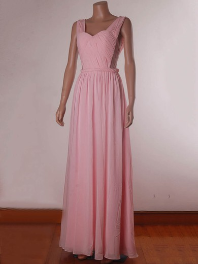 Chiffon Tulle A-line Sweetheart Floor-length Ruffles Bridesmaid Dresses #PDS02017734