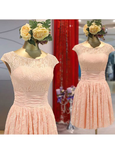 Lace A-line Scoop Neck Short/Mini Flower(s) Bridesmaid Dresses #PDS02017465