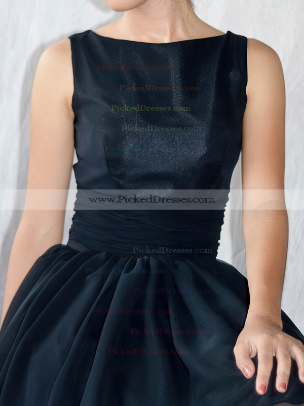 Chiffon Elastic Woven Satin A-line Scoop Neck Knee-length Sashes / Ribbons Bridesmaid Dresses #PDS02017493