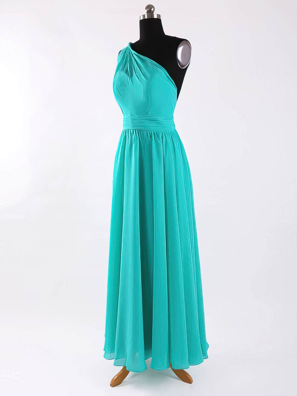 Chiffon A-line One Shoulder Floor-length Sashes / Ribbons Bridesmaid Dresses #PDS02017625