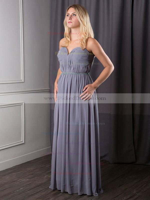 Chiffon A-line Sweetheart Floor-length Sashes / Ribbons Bridesmaid Dresses #PDS02017631