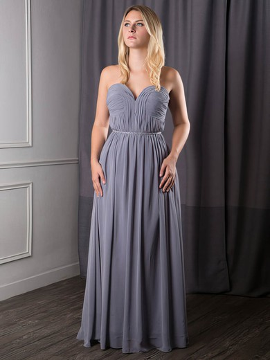 Chiffon A-line Sweetheart Floor-length Sashes / Ribbons Bridesmaid Dresses #PDS02017631