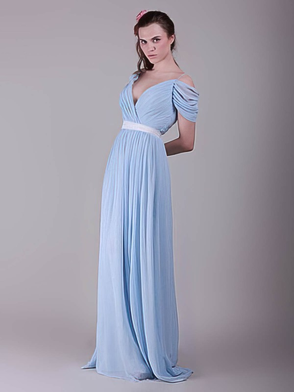 Chiffon A-line V-neck Sweep Train Sashes / Ribbons Bridesmaid Dresses #PDS02017655