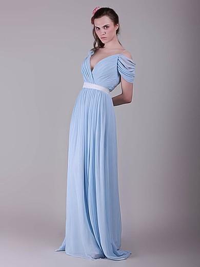 Chiffon A-line V-neck Sweep Train Sashes / Ribbons Bridesmaid Dresses #PDS02017655