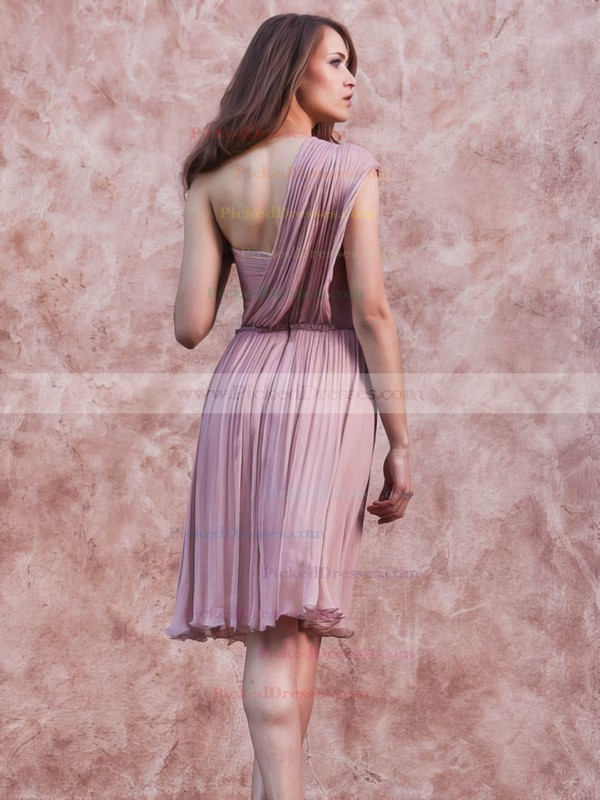 Chiffon A-line One Shoulder Short/Mini Ruffles Bridesmaid Dresses #PDS02017657