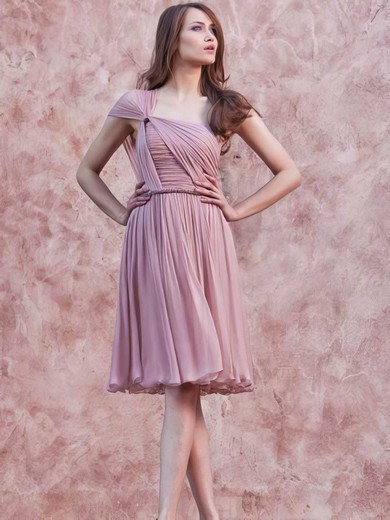 Chiffon A-line One Shoulder Short/Mini Ruffles Bridesmaid Dresses #PDS02017657