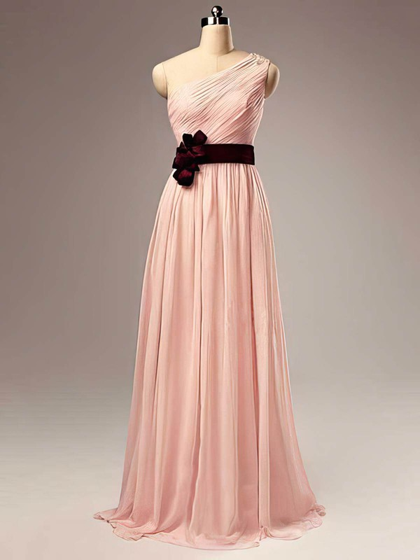 Chiffon A-line One Shoulder Floor-length Sashes / Ribbons Bridesmaid Dresses #PDS02017505