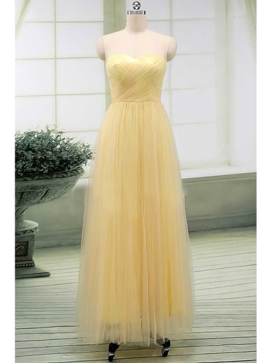 Tulle A-line Sweetheart Floor-length Ruffles Bridesmaid Dresses #PDS02017513