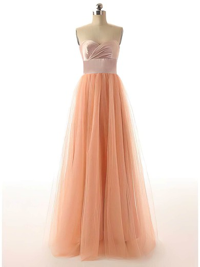 Tulle A-line Sweetheart Floor-length Sashes / Ribbons Bridesmaid Dresses #PDS02017528