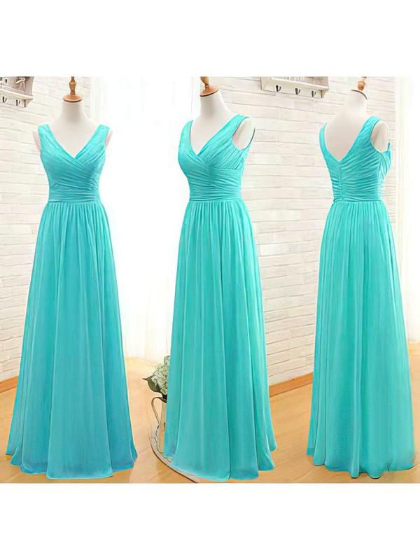 Chiffon A-line V-neck Floor-length Ruffles Bridesmaid Dresses #PDS02017535