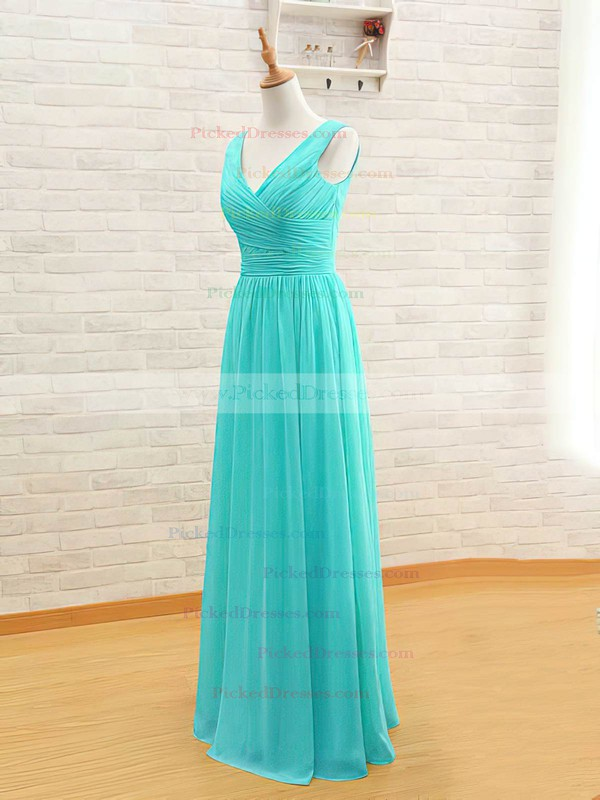 Chiffon A-line V-neck Floor-length Ruffles Bridesmaid Dresses #PDS02017535