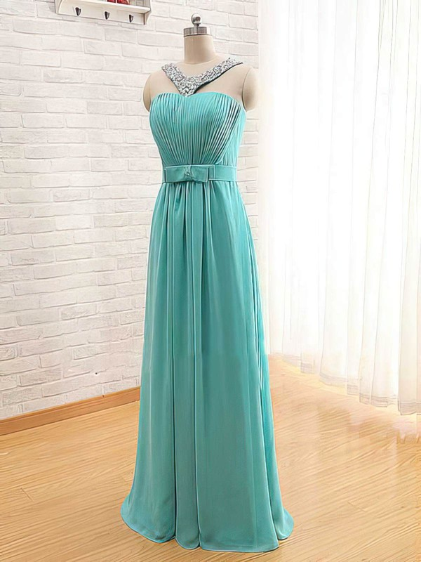 Chiffon A-line Square Neckline Floor-length Beading Bridesmaid Dresses #PDS02017565
