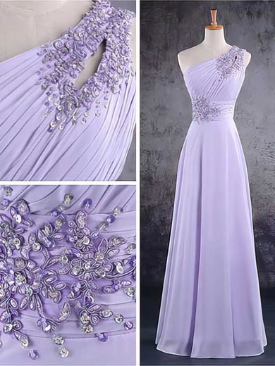 Chiffon A-line One Shoulder Floor-length Beading Bridesmaid Dresses #PDS02017584