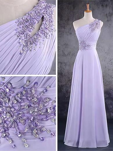 Chiffon A-line One Shoulder Floor-length Beading Bridesmaid Dresses #PDS02017584