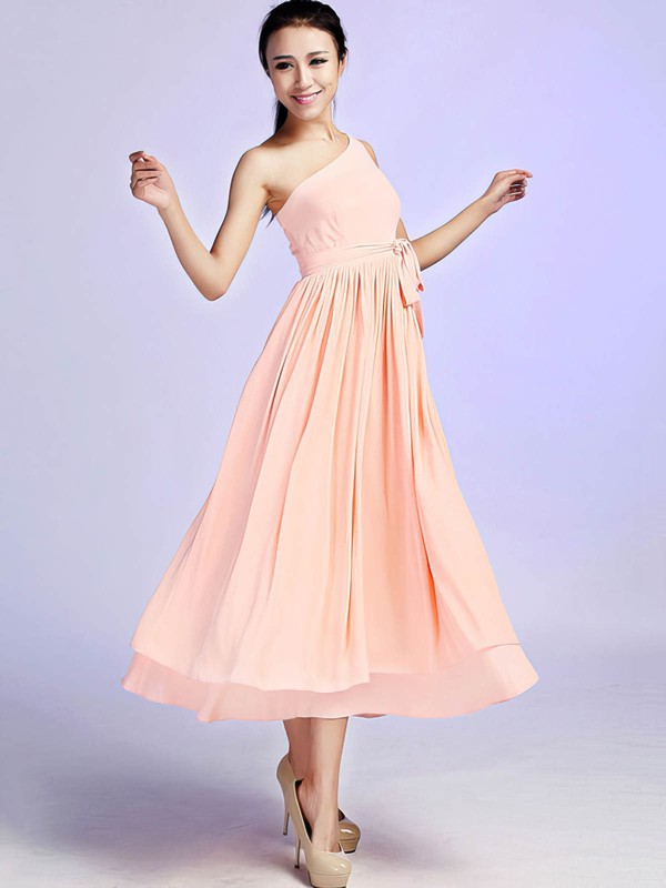 Chiffon A-line One Shoulder Ankle-length Sashes / Ribbons Bridesmaid Dresses #PDS02017685