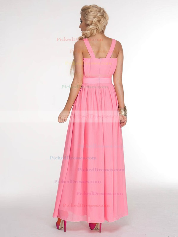 Chiffon A-line V-neck Ankle-length Sashes / Ribbons Bridesmaid Dresses #PDS02017686