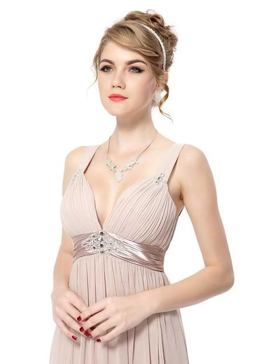 Chiffon Empire V-neck Ankle-length Sashes / Ribbons Bridesmaid Dresses #PDS02017689