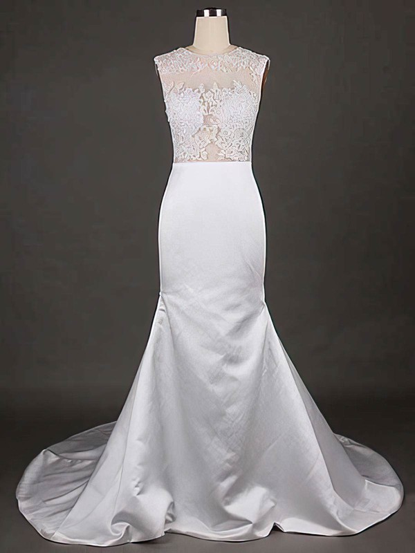 Online Scoop Neck White Satin Tulle Appliques Lace Trumpet/Mermaid Wedding Dresses
