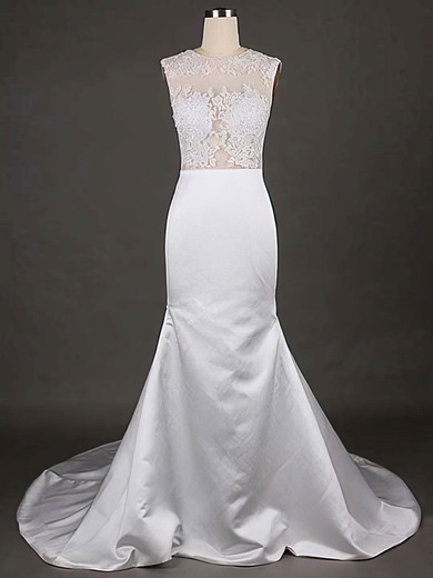 Online Scoop Neck White Satin Tulle Appliques Lace Trumpet/Mermaid Wedding Dresses #PDS00021192