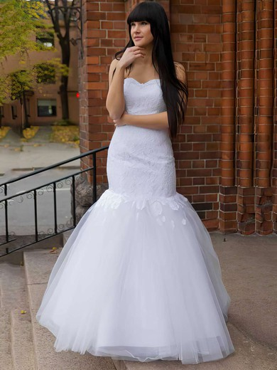 Promotion Lace Tulle with Appliques Lace Trumpet/Mermaid Sweetheart Wedding Dress #PDS00021197