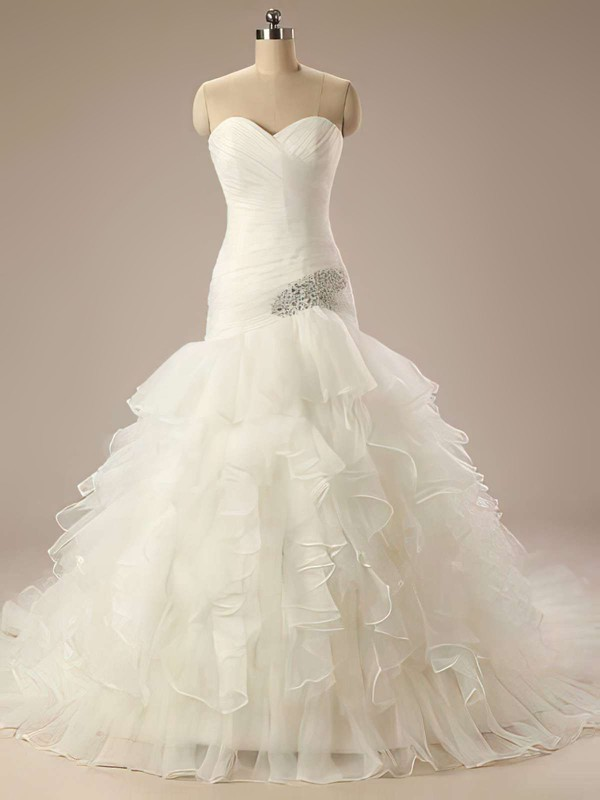Simple Ivory Organza Sweetheart Tiered Trumpet/Mermaid Wedding Dresses #PDS00021199
