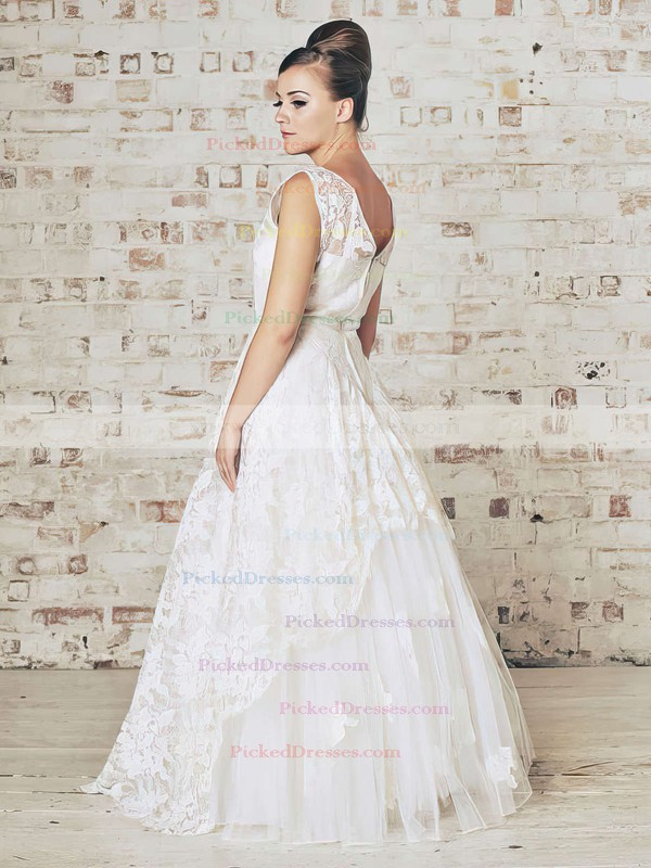 White Lace Ruffles Floor-length Ball Gown Best Wedding Dress #PDS00021201