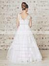 White Lace Ruffles Floor-length Ball Gown Best Wedding Dress #PDS00021201