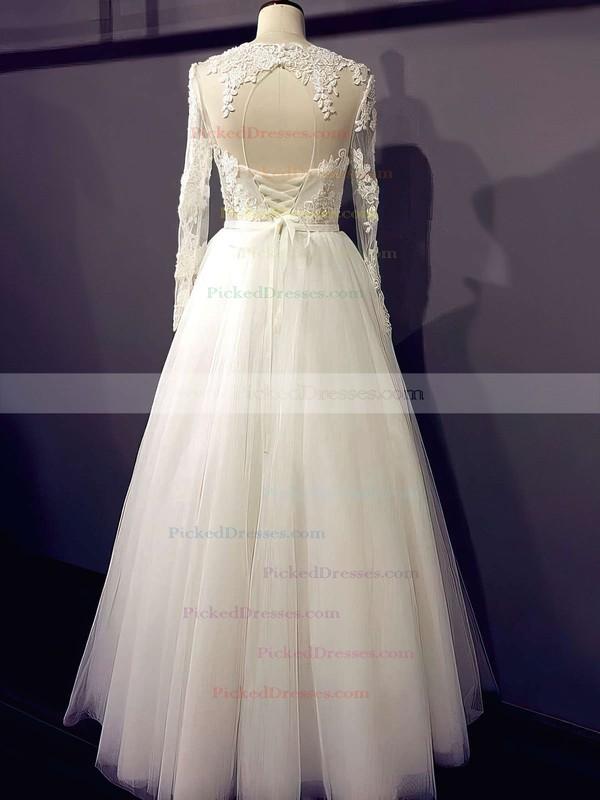 Famous Princess Scoop Neck Appliques Lace Long Sleeve Ivory Tulle Wedding Dresses #PDS00021203