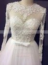 Famous Princess Scoop Neck Appliques Lace Long Sleeve Ivory Tulle Wedding Dresses #PDS00021203