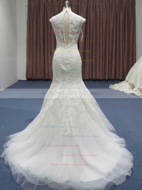 Elegant Sweetheart Lace Tulle Appliques Lace Trumpet/Mermaid Sweep Train Wedding Dresses #PDS00021208