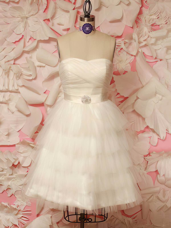 Prettiest Ivory Tulle with Sashes/Ribbons Lace-up Short/Mini Wedding Dresses