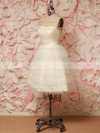 Prettiest Ivory Tulle with Sashes/Ribbons Lace-up Short/Mini Wedding Dresses #PDS00021212