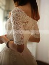 Off-the-shoulder Lace Tulle Appliques Lace Princess 1/2 Sleeve Ivory Wedding Dress #PDS00021213