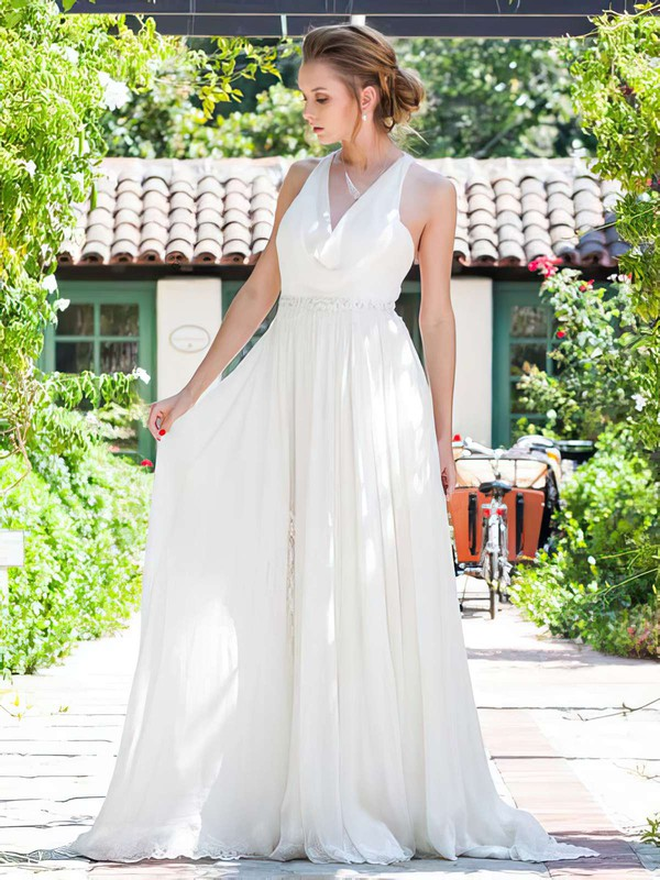 Ivory Chiffon with Appliques Lace Elegant Cowl Neck Wedding Dresses #PDS00021217