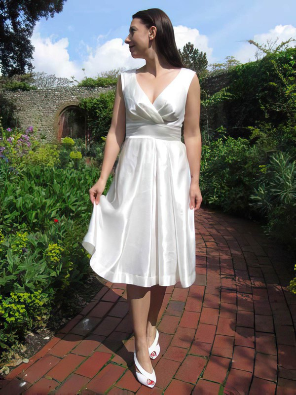 Casual Ivory Elastic Woven Satin V-neck Tea-length Wedding Dresses #PDS00021218
