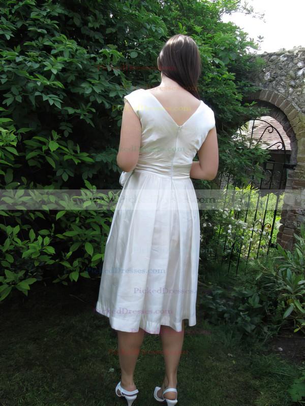 Casual Ivory Elastic Woven Satin V-neck Tea-length Wedding Dresses #PDS00021218