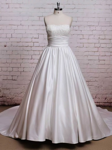 Chapel Train White Satin with Bow Strapless Lace-up Nice Wedding Dresses #PDS00021224