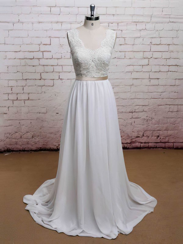 Sweetheart Open Back Latest Chiffon Lace with Sashes/Ribbons Sweep Train Wedding Dress #PDS00021225