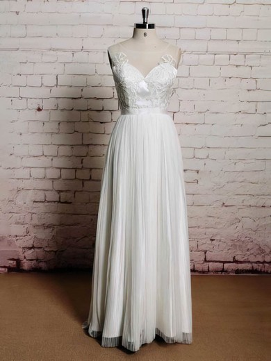 Simple Scoop Neck Chiffon Tulle Appliques Lace and Buttons White A-line Wedding Dresses #PDS00021226