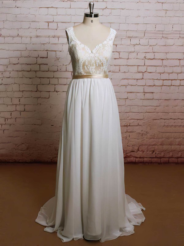 Multi Colours V-neck Chiffon Lace Sashes/Ribbons Ruffles A-line Wedding Dresses #PDS00021227