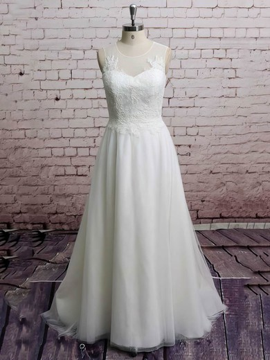 Coolest White Tulle with Appliques Lace Scoop Neck Sweep Train Wedding Dresses #PDS00021228